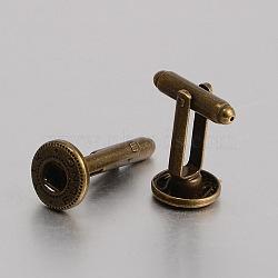 Латунь кнопку оснастки материалы, манжеты кнопку, сеттинги для кабошонов для создания одежды , без никеля , античная бронза, 28x12 мм; подходят для 5 кнопок ручка мм досрочных(KK-J184-36AB-NF)