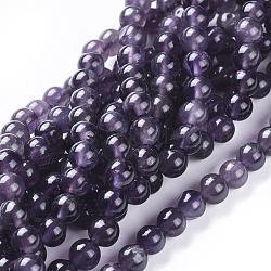 """Chapelets de perles en améthyste naturelle, rond, 6mm, trou: 0.8mm; environ 70 pcs/chapelet, 15.15""""~15.35"""" (38.5~39 cm)(G-I256-02D)"""