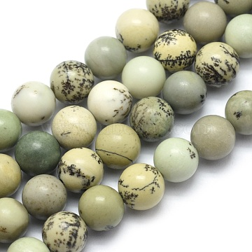 Natural Dendritic Jasper Beads Strands, Round, 8mm, Hole: 1.2mm, about 46pcs/strand, 15.15 inches(38.5cm)(X-G-E501-8mm-01)