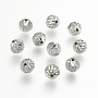 925 Sterling Silver Corrugated Beads, Round, Platinum, 6mm, Hole: 0.8mm