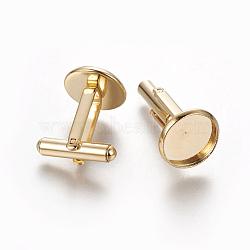 304 boutons de manchette en acier inoxydable, plat rond, or, plateau: 12 mm; 26.5x14 mm(STAS-E471-03D-G)