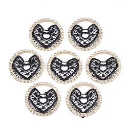 décorations en polyester, avec les résultats de strass et de laiton, plat et circulaire avec coeur, or et de lumière, noir, 32x2 mm(FIND-T044-14)