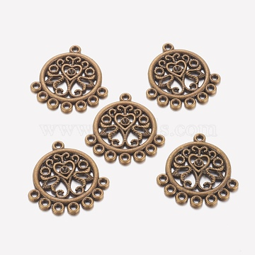 Alloy Cabochon Connector Settings, Lead Free and Nickel Free and Cadmium Free, Flat Round, Antique Bronze, 30x22.5x2mm, Hole: 2mm(EA351Y-AB)