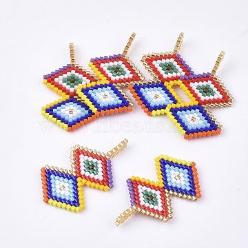 35mm Colorful Rhombus Glass Pendants
