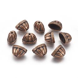 Tibetan Style Alloy Bead Caps, Apetalous, Lead Free & Nickel Free, Red Copper, 13x20x12mm, Hole: 2mm(X-TIBE-976-R-FF)