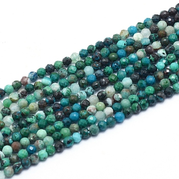 Natural Chrysocolla Beads Strands, Faceted, Round, 3mm, Hole: 0.6mm; about 139pcs/strand, 14.96 inches(38cm)(X-G-G823-13-3mm)
