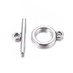 alliage de style tibétain basculer fermoirs, sans plomb et sans cadmium, argent antique, anneau: environ 14x11x2 mm, trou: 2 mm; bar: 19x5.5x2 mm, trou: 2 mm(X-EA774Y)