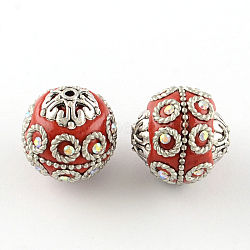 Handmade Indonesia Rhinestones Round Beads, with Brass Ball Chains and Antique Silver Alloy Findings, Red, 20~21x18~20mm, Hole: 1.5mm(X-IPDL-R033-34C)