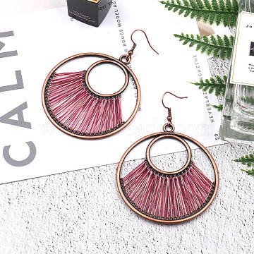 Creative Design Alloy Dangle Earrings, with Yarn, Flat Round, Red Copper, Fuchsia, 75x55mm(X-EJEW-F238-20A)