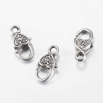 Tibetan Style Alloy Lobster Claw Clasps, Heart, Cadmium Free & Nickel Free & Lead Free, Antique Silver, 17x9x5mm, Hole: 2mm(X-TIBE-T002-03AS-NR)