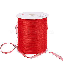 "Ruban d'organza, rouge, 1/4"" (6 mm); 500yards / roll (457.2m / roll)(RS6mmY026)"
