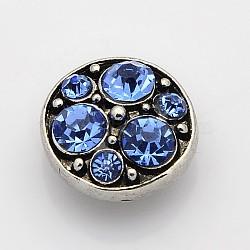 Boutons pression de bijoux avec strass de grade A plat rond en alliage de zinc d'argent antique, Sans cadmium & sans nickel & sans plomb, saphir, 13x7 mm; bouton: 4.5 mm(SNAP-O020-06B-NR)