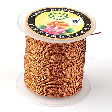 Round Metallic Cord, 6-Ply, Chocolate, 0.6mm, about 87.48 yards(80m)/roll(MCOR-L001-0.6mm-10)