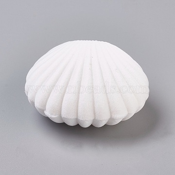 Velvet Necklace Boxes, Shell Shape, Jewelry Box for Girls, Gift Box, White, 5.3x5.85x2.9cm(X-VBOX-TAC0001-05)