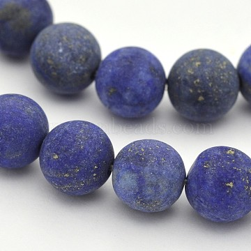 Natural Lapis Lazuli Round Beads Strands, Frosted, Dyed, 6mm, Hole: 1mm, about 63pcs/strand, 15.3 inches(X-G-D660-6mm)
