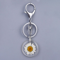 porte-clés fleur séchée en résine d'alliage, avec des fermoirs à clé en alliage platine et des porte-clés en fer, effacer, 93 mm(X-KEYC-JKC00197)