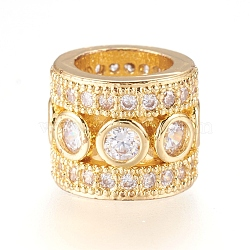 Brass Micro Pave Cubic Zirconia Beads, Column, Real 18K Gold Plated, 11x9mm, Hole: 7mm(X-ZIRC-J018-13G)