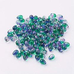 Прозрачный бисер cmолой, капля, темно-зеленые, 7x5 мм, отверстие : 1 мм(GLAA-E026-83)