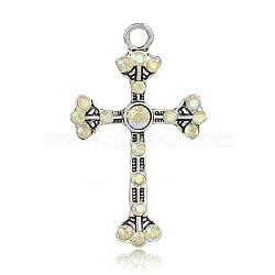 Pendentifs en alliage de style tibétain avec strass, Fleurée croix latine, argent antique, cristal ab, 49.5x30x5mm, Trou: 4mm(RB-J115-28AS)