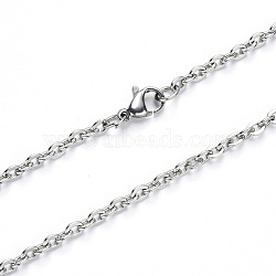 304 Stainless Steel Cable Chain Necklace Making, with Lobster Claw Clasp, Stainless Steel Color, 19.68 inches(50cm); Link: 4x3x0.8mm(NJEW-S420-004P)