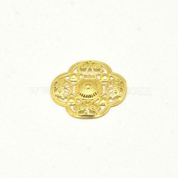 Brass Filigree Joiner, Flower, Golden, 22x22x2mm(X-KK-E710-80G)