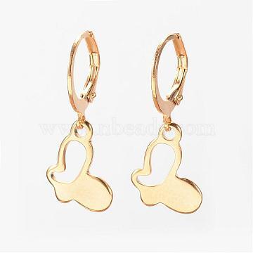 304 Stainless Steel Leverback Earrings, Hypoallergenic Earrings, , Butterfly, Golden, 26mm, Pin: 1mm(EJEW-D227-13)