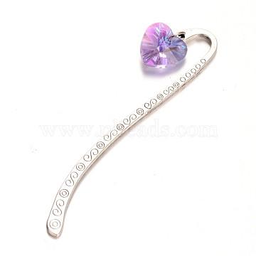 Antique Silver Alloy Glass Bookmarks, Heart, Medium Purple, 85mm(AJEW-JK00085-02)