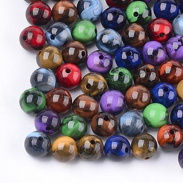 Acrylic Beads, Imitation Gemstone Style, Round, Mixed Color, 10x9.5mm, Hole: 1.8mm(X-OACR-S029-018C)
