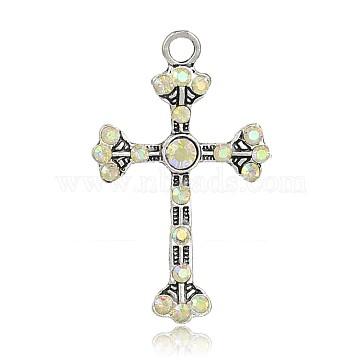 Antique Silver Cross Alloy + Rhinestone Pendants