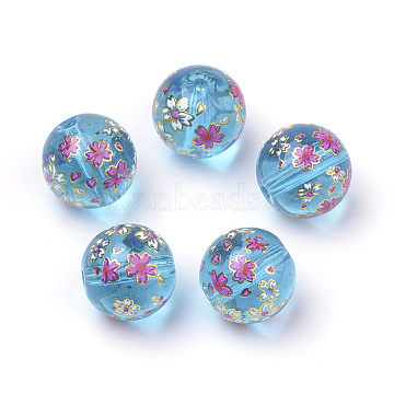 Printed Glass Beads, Round with Flower Pattern, Dodger Blue, 11~12x11mm, Hole: 1.5mm(X-GFB-Q001-12mm-E08)