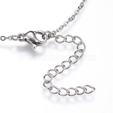 304 Stainless Steel Initial Pendant Necklaces(NJEW-P151-M-P)-2