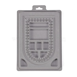 PE and Flocking Bead Design Boards, Necklace Design Board, with Graduated Measurements, DIY Beading Jewelry Making Tray, Rectangle, Gray, 23x16x1.2cm(TOOL-O005-06)