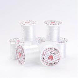 Chaîne de cristal élastique plat de 0.8 mm, fil de perles élastique, pour la fabrication de bracelets élastiques, perlage ajustement bijoux cordon, blanc, 10m/rouleau