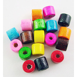 Mixed Natural Wood Column Beads, Lead Free, Dyed, 5x4mm, Hole: 2mm(X-WOOD-S611-M-LF)