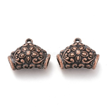 Tibetan Style Alloy Hanger Links, Bail Beads, Tube Carved Flower Pattern, Nickel Free, Red Copper, 20x25x9mm, Hole: 2mm, Inner Diameter: 4x5mm(PALLOY-J493-32R-NF)