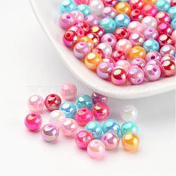 Perles acryliques colorées, couleur ab , rond, couleur mixte, taille: environ 6mm de diamètre, Trou: 1mm(X-PL424)