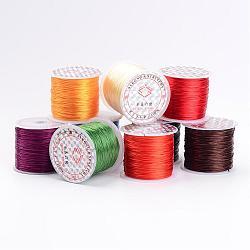 Chaîne de cristal élastique plat, fil de perles élastique, pour la fabrication de bracelets élastiques, couleur mixte, environ 0.8 mm d'épaisseur, 60m/rouleau(EWM02)