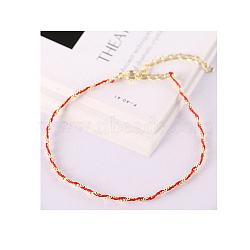 925 bracelets en argent sterling, avec cordon en cuir, rouge, or(BJEW-AA00086-03G-02)