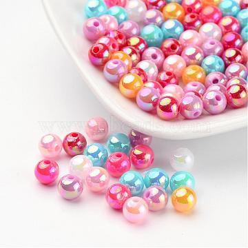 непрозрачные акриловые бусины, для именных браслетов и изготовления ювелирных изделий, AB Цвет, вокруг, cmешанный цвет, размер: около 6 mm в диаметре, отверстия: 1 mm(X-PL424)