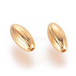 Perles ondulées en laiton, véritable plaqué or, ovale, 8x4mm, Trou: 1mm(X-KK-Q735-282G)