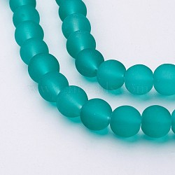 Transparent Glass Bead Strands, Frosted, Round, Light Sea Green, 8mm, Hole: 1.3~1.6mm, about 99pcs/strand, 31.4 inches(X-GLAA-S031-8mm-18)