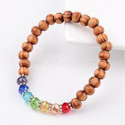 Bois perles rondes enfants bracelets bracelets extensibles, avec des perles en verre et des accessoires en alliage, colorées, 44mm(BJEW-JB02279)