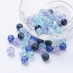 Perles de verre craquelé peintes, gris argenté mélange, rond, couleur mixte, 8~8.5x7.5~8mm, trou: 1 mm; environ 100 PCs / sachet (DGLA-X0006-8mm-03)