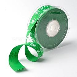 """Flocon ruban polyester grosgrain pour noël, verte, 1"""" (25 mm); environ 100yards / rouleau (91.44m / rouleau)(SRIB-K002-25mm-D02)"""