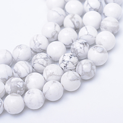 brins ronds de perles de howlite naturelle, 6 mm, trou: 1 mm; environ 61 perle / brin, 15.3 pouces