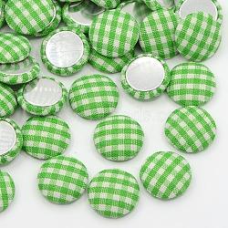 Accessoires de vêtement scrapbook embellissements flatback tartan demi-rond dôme tissu recouvert de tissu cabochons, avec fond en aluminium, de couleur métal platine , lightgreen, 14.5x4mm(X-WOVE-F012-07)