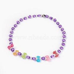 """Acryliques perles de colliers d'enfants, avec des perles en agate, bowknot & coeur & rond, violet, 19.29"""" (49 cm)(NJEW-JN02235-03)"""