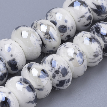 15mm Black Rondelle Porcelain Beads