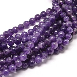 Natural Amethyst Round Bead Strands, 8mm, Hole: 1mm; about 49pcs/strand, 16inches
