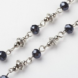 Handmade Electroplate Glass Beaded Chains, Unwelded, for Necklaces Bracelets Making, with Tibetan Style Alloy Spacer Beads, Black, 39.37 inches(1m)(X-AJEW-JB00264-04)